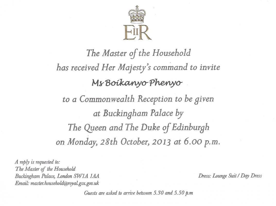 Commonwealth Reception 2013 - Invitation