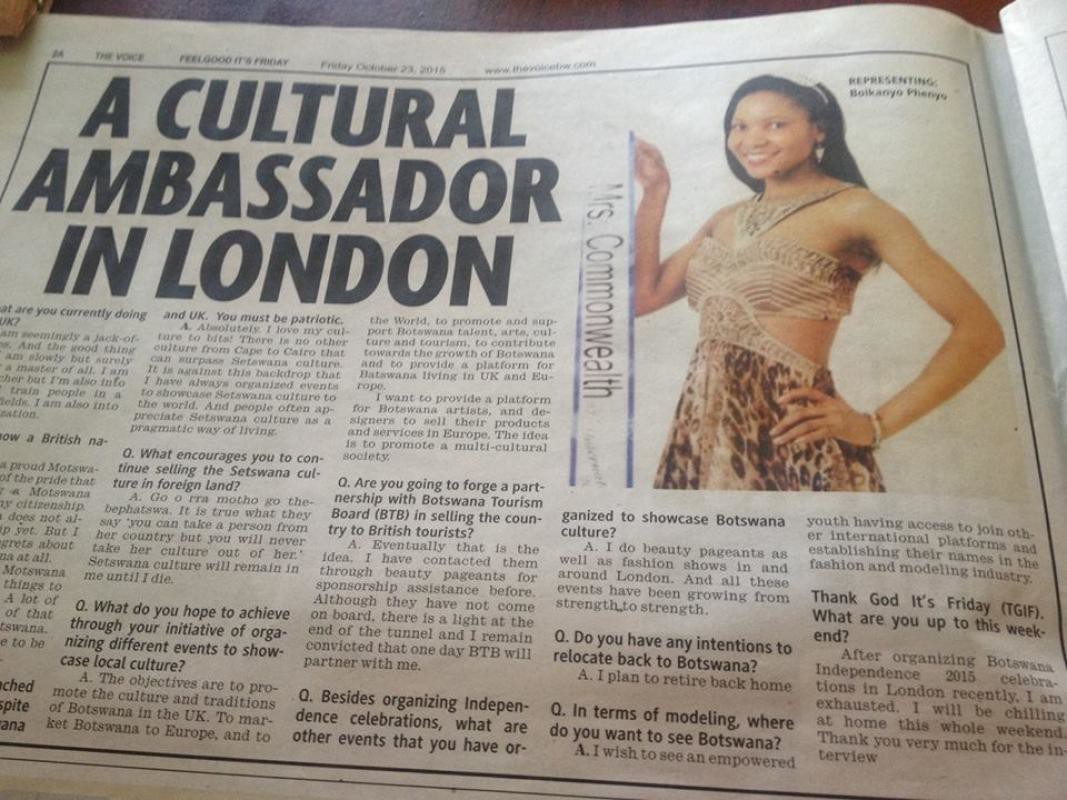 Cultural Ambassador in London - The Voice 2015-10-23