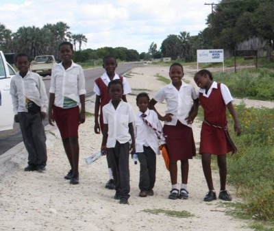 The kids of Sexaxa Village near Maun, Botswana walking to school as I used to do many years ago!